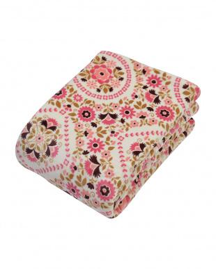 ピンク わた入りソフトタッチ毛布 シングルサイズ 花柄を見る