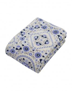 ブルー わた入りソフトタッチ毛布 シングルサイズ 花柄を見る