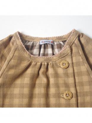 ブラウン×ベージュ ギンガムコール 長袖ドレスを見る