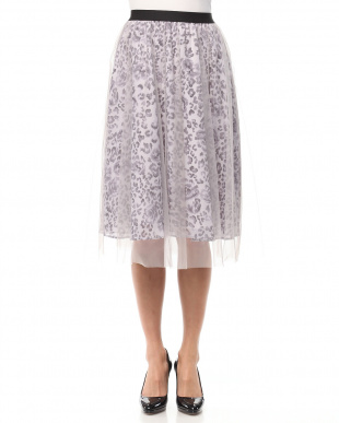 ピンク レオパード×チュールフレアスカートを見る