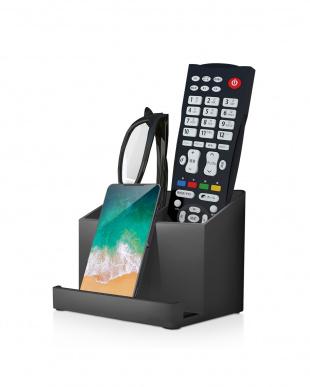 ブラック 「テレビ用リモコンスタンド」  スマホを置ける/収納グッズを見る