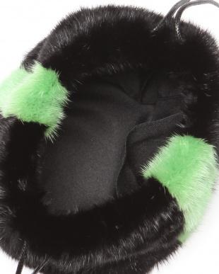 BLACK x NEONGREEN  ミンクラインきんちゃくバッグを見る