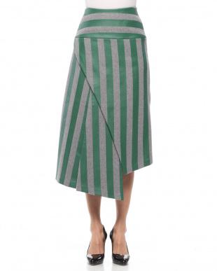 GRAY x GREEN ストライプハイウエストスカートを見る