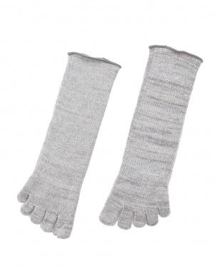 グレー 肌側シルクパイルのふんわり5本指ソックス 2足セットを見る