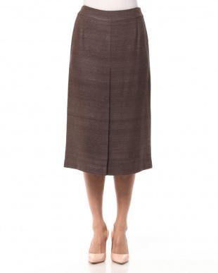 ブラウン イタリア素材シルク混スカートを見る