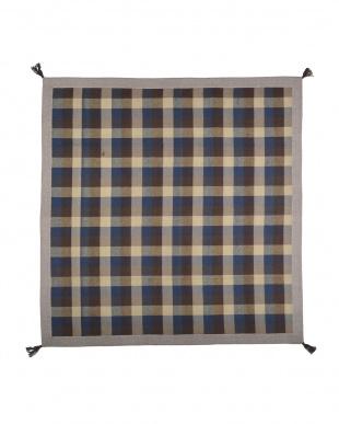 ブルー インド綿ウール混ボンディングラグ メルモ 185×185cmを見る