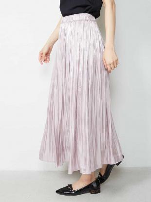 ピンク サテンギャザーロングスカート OFUONを見る