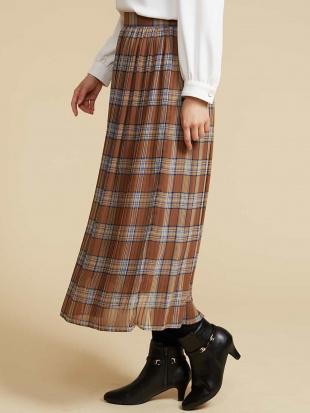 ブラウン チェックPTプリーツスカート OFUONを見る