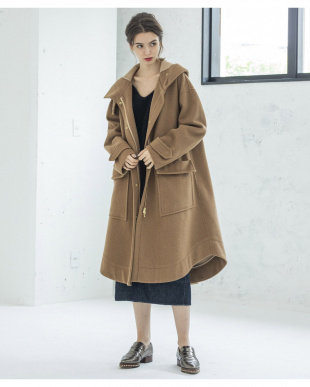 キャメル MILITARY WOOL LONG COATを見る