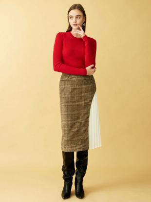 ブラウン アートカッティングプリーツタイトスカート LAGUNAMOONを見る