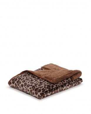 ベージュ レオパードもこもこシープ毛布 (蓄熱綿入り)を見る