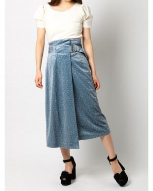 ブルー ベロアプリントスカート dazzlinを見る