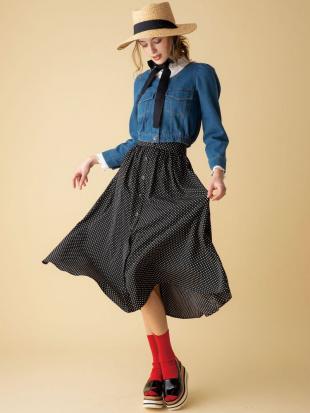 ブラック 【C】フロントボタンマキシスカート dazzlinを見る