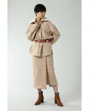 ベージュ 衿ボア付きチェックシャツブルゾン R/B(オリジナル)を見る