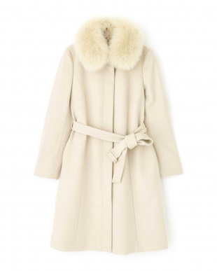 ピンクベージュ1 ◆カシミア混フォックスファー襟ステンカラーコート NATURAL BEAUTYを見る
