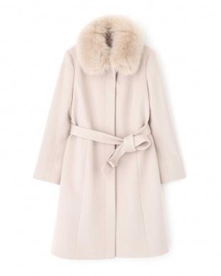 ピンク ◆カシミア混フォックスファー襟ステンカラーコート NATURAL BEAUTYを見る