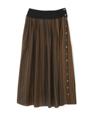 ブラウンxブラックSt マルチストライプロングスカート アドーアを見る