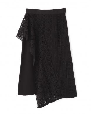 ブラック マルチパターンレースセパレートスカート アドーアを見る