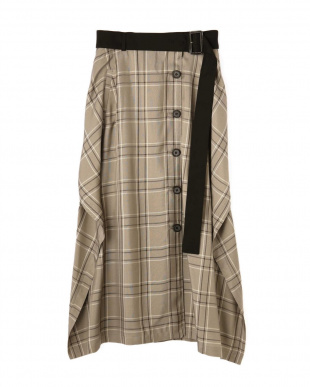 ベージュ ヴィスコースチェックベルト付きスカート アドーアを見る