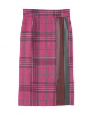 ピンク カラーチェックIラインスカート アドーアを見る