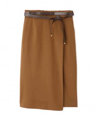 キャメル1 [ウォッシャブル]ベルト付きセットアップスカート PINKY & DIANNEを見る