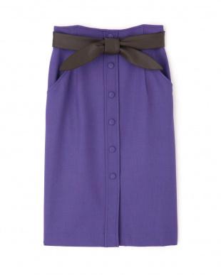 パープル ◆レザーリボン付きフロント釦スカート PINKY & DIANNEを見る