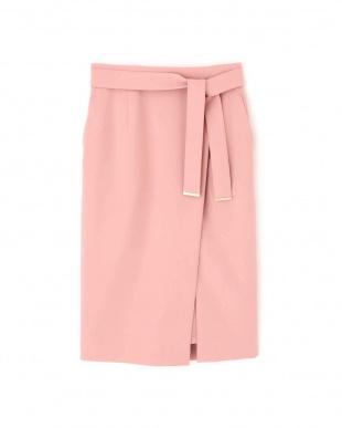 ピンク [ウォッシャブル]メタルプレートベルト付ラップスカート PINKY & DIANNEを見る
