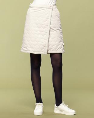 グレージュ 裏フリース中綿キルトラップスカートを見る