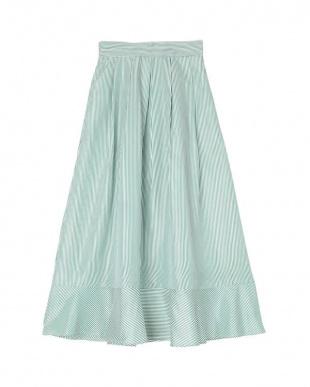 ストライプ/グリーン 裾切替タックフレアスカートを見る