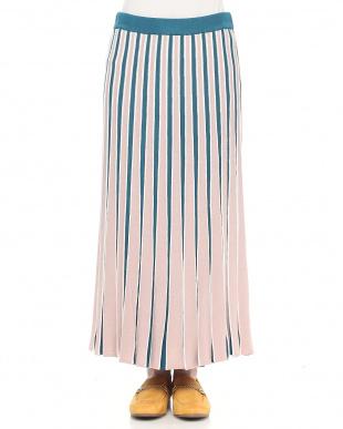 グリーン 配色ニットプリーツスカートを見る