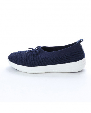 Midnight Navy UBERKNIT SLIP ON BALLERINA WITH BOW in Waffleを見る