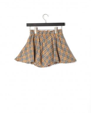 ベージュ チエックフレアースカートを見る