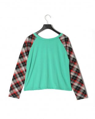 グリーン 袖チエックTシャツを見る