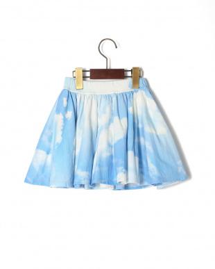 ライトブルー UP IN THE CLOUDS フレアギャザースカートを見る