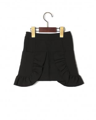 ブラック  フリルサイドポケットAラインスカートを見る