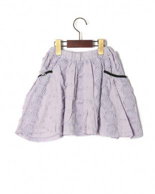 ライトパープル  ハナレースギャザースカートを見る