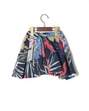 ネイビー  トロピカルギャザースカートを見る