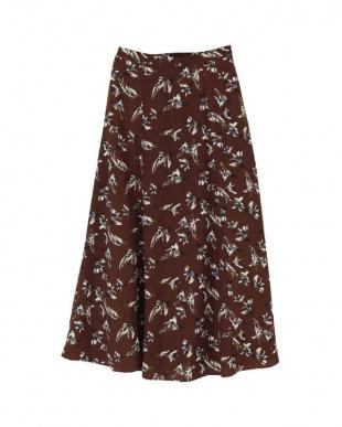 花柄/ブラウン ソフトマーメイドフレアロングスカートを見る