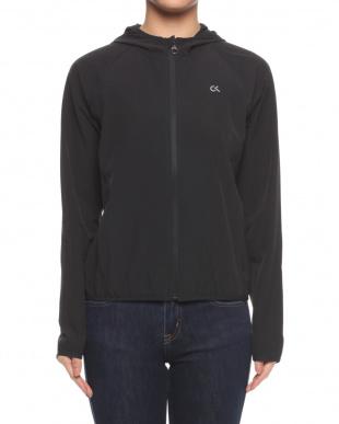 002_CK BLACK Hooded Wind Jacket With CK Logo at Center Backを見る