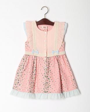 ピンク ボーダーフラワープリントジャンパースカートを見る