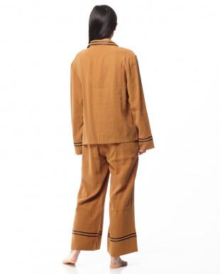 ブラウン ダブルラインパジャマ長袖&ロングパンツを見る