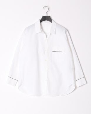 ホワイトXネイビー パイピングアクセントオーバーシャツを見る