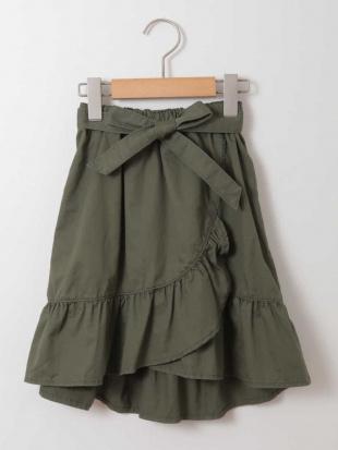 カーキ [140-150]サッシュリボン付フリルラップ風スカート a.v.v bout de chouを見る