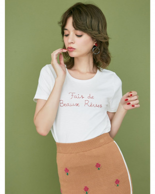オレンジ メッセージ刺繍Tシャツ dazzlinを見る