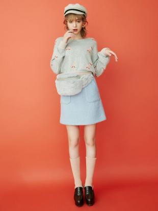 ピンク ブークレ台形ミニスカート dazzlinを見る