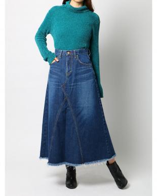 ブルー Lee×dazzlinヘムフリンジロングスカート dazzlinを見る