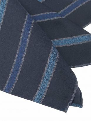 ブルー 【シルク】ストライププリントポケットチーフ MICHEL KLEIN HOMMEを見る