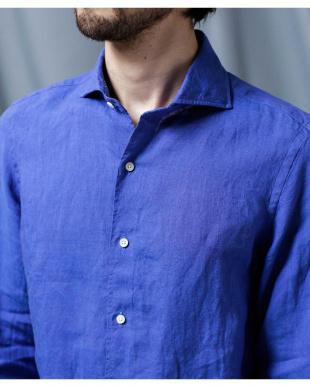 ブルー //リネンソリッドシャツ ナノ・ユニバースメンズ(オリジナル)を見る