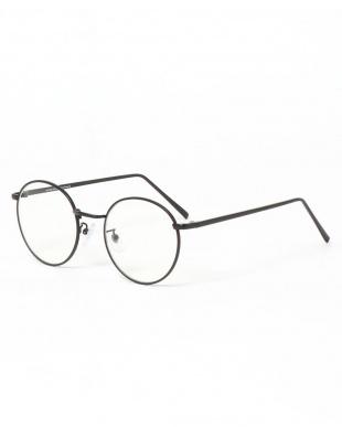 ブラック メタルフレーム丸メガネを見る