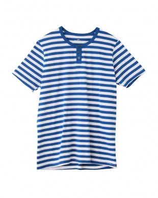 ネービーブルー ヘンリーネックTシャツ×3セットを見る